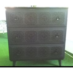 Dresser Painted In Flat Black Stenciled With A High Gloss Black. Find This  Pin And More On Vintage Looking Furniture ...