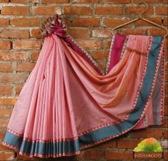#Pink #Cotton Chanderi #Saree with Zari Borders by Bunkar at Indianroots.com