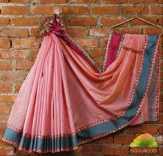 #Pink #Cotton Chanderi #Saree with Zari Borders by Bunkar at Indianroots.com