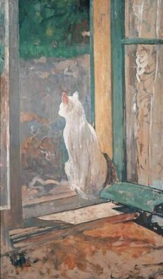 White Cat at an open window - Jacobus van Looy , c. 1895 Dutch, 1855-1930 Oil on…