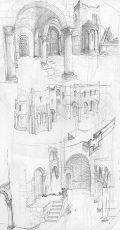 Buildings in Minas Tirith; by Alan Lee  (from The Lord of the Rings Sketchbook)