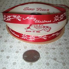 Vintage Red Merry Christmas Ribbon Gift Wrap