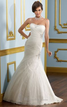 Mermaid Floor-length Strapless Dress Ivory Bandage Wedding Gowns 1251 Beads Sweep Train
