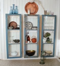 Ms. Elton: Old windows are the glass cabinet!