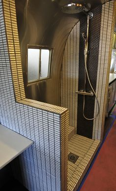 remodel of a camper shower.now this is glamping! Airstream Remodel, Airstream Interior, Trailer Interior, Vintage Airstream, Trailer Remodel, Bus Remodel, Airstream Bathroom, Rv Bathroom, Art Vintage