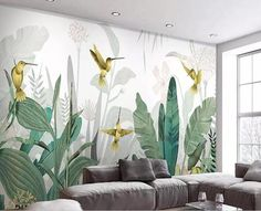 Southeast Asia Tropical Plants Wallpaper, Flying Birds and T.- Southeast Asia Tropical Plants Wallpaper, Flying Birds and Tropical Banan Leaves Wall Murals Wall Decor for Living or Dinning Room -