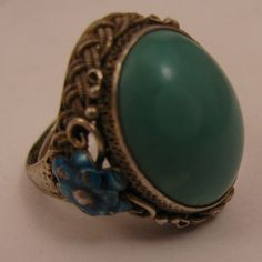 Chinese Export Sterling Silver Enamel Turquoise Ring