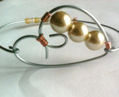 bangle bracelet heart jewelry freshwater pearl by CardenCreations, $7.00