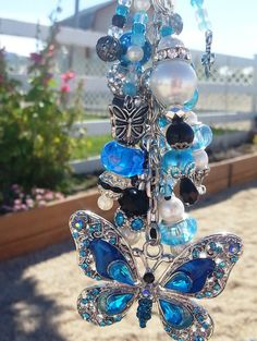 Stunning Purse, Key Chain and Car Rear View Mirror Charm: Aqua Blue Butterfly Sparkle Bling Dangle Jewelry