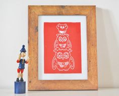 Owl Family : Red on Etsy, £15.00