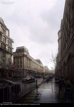 Rain Street.  Created by MR Zhangnaigang of China, using 3ds Max, Photoshop and V-Ray.