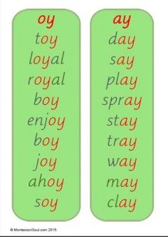 Reading List: oy and ay sounds: Phase English Phonics, English Vocabulary, Teaching English, Learn English, Phonics Reading, Teaching Phonics, Teaching Reading, Phonics Lessons, Spelling Activities