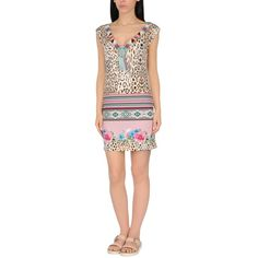 Blumarine Beachwear Beach Dress ($150) ❤ liked on Polyvore featuring dresses, beige, jersey dress, beige dress, leopard dress, beach dresses and blumarine dress