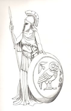 Greek mythology tattoo. Athena.