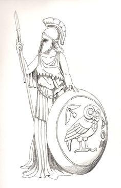 Greek mythology tattoo. Athena.