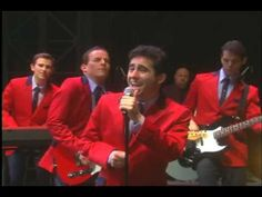 Clips of JLY and original broadway cast in Jersey Boys on Broadway.