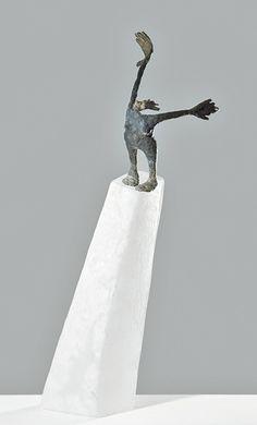 Colette Grandgérard, sculpture 2010, pièce unique, pâte de verre et bronze, H. 64 x 18 x 19 cm