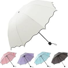 Happy Camper Camping Florals Sun Umbrella Compact Folding Travel Umbrella Auto Open And Close For Windproof Rainproof UV Protection Parasol