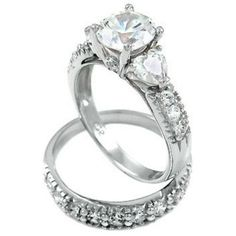 Sterling Silver CZ ladies size 4-11 round cut engagement ring and wedding band wedding ring set #BladesBling #bling #sterlingsilver #CZ #roundcut #engagementring #bridal #wedding #bladesandbling #freegiftbox #jewelry #rings #beautiful #fashion #love #swag #foreverlove #iheartit #wecute #jewelryforwomen #weddingplanning #SolitairewithAccents #silver #silverjewelry #engaged #familybusiness #glam #gorgeous #heart