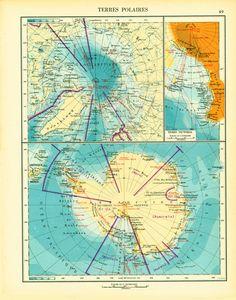 1950 Carte du Pole Sud. Carte du Pole Nord. Carte de l'Antarctique. Planche Originale. Atlas Geographie