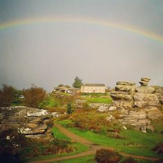 Brimham Rocks yesterday morning. #rainbow #nidderdale #Yorkshire #yorkshiredales Yorkshire Dales, Travel Bugs, Wales, Scotland, Golf Courses, Rocks, England, Rainbow, Rain Bow
