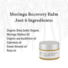 Every product from All Moringa including the Moringa Recovery Balm is completely natural. No GMOs are ever added. They are free of all toxins including parabens, preservatives, detergents and other harmful chemicals. We never test our products on animals. The Moringa trees in which this Moringa Oleifera Balm is based are grown at an organic farm where all cultivation processes are ethically and naturally controlled, this process helps us package and ship our Moringa creams under stringent… Organic Farming, Preserves, Recovery, The Balm, Almond, Trees, Packaging, Ship, Natural