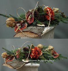 Jessi o nas Arrangements Funéraires, Modern Floral Arrangements, Christmas Flower Arrangements, Cemetery Decorations, Christmas Wreaths, Christmas Decorations, Floral Hoops, Funeral Flowers, Arte Floral