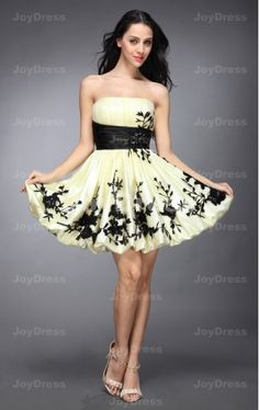 buy dress  from Flower Prints Ball Gown Strapless Short Dress www.joydress.co.uk