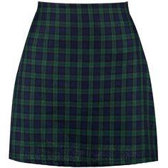 Boohoo Lexie Tartan Check Woven A Line Mini Skirt ($24) ❤ liked on Polyvore featuring skirts, mini skirts, bottoms, short mini skirts, a-line skirts, tartan skirt, plaid miniskirts and blue mini skirt