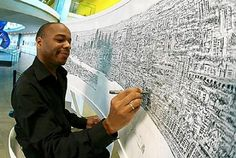 Stephen Wiltshire Artistic Savant draws entire city scape from a single viewing on a helicopter entirely from memory