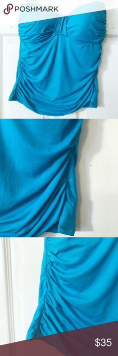 NEW LISTING! La Blanca swim top Gorgeous blue, strapless swim separate. Soft, molded bra cups. Ruched sides. Comes with detachable strap. Worn once. La Blanca Swim Bikinis