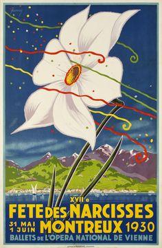 Montreux, XVIIe Fête des Narcisses 1930 - Vintage Posters - Galerie 123 - The… Illustrations Vintage, Art Deco Illustration, Graphic Illustration, Retro Advertising, Vintage Advertisements, Vintage Ads, Lausanne, Evian Les Bains, Retro Poster