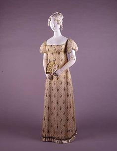 Dress-1805-10, French, cotton, metallic embroidery
