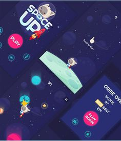 The graphic design of the little iPhone game - Space Up! Game Ui Design, Ios Design, Graphic Design, Aliens, Bubble Games, Game Gui, Space Games, Game Interface, Space Up