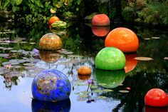 Floating globes at Fairchild Gardens in Coral Gables, Florida.