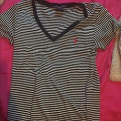 Black and white stripe polo V-neck Perfect condition, only worn a few times. Polo by Ralph Lauren Tops Tees - Short Sleeve