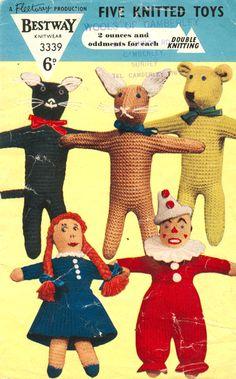 Cat, Rabbit, Bear, Girl, Clown (eek)! Five knitted toys Bestway knittern #3339