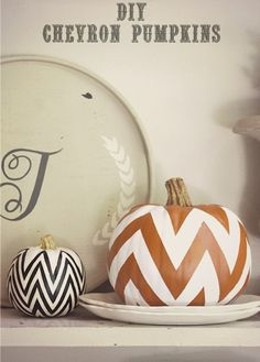belle maison: DIY Fall Decorating Projects - Chevron Painted Pumpkins.  @Erin Christey @Meghan Miller .  The big one is done with tape and spray paint, looks very easy!