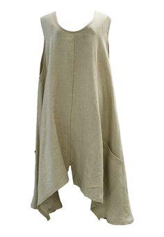 Akh Fashion Lagenlook Layering Leinen-Tunika Sommer Kleid in sand XL Mode bei www.modeolymp.lafeo.de