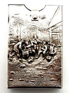 Denmark Silver Plated Cigarette Pack Case Flip Top Danish Repousse Vintage