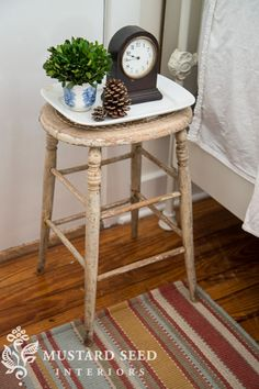 Emily A. Clark shares three totally easy decorating ideas. We love that she included Miss Mustard Seed's stool repurposed as a nightstand. #bedroom #interiordesign