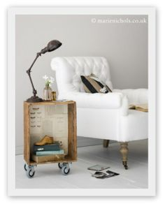 idea, diy vintag, side tabl, wooden crates, furnitur, night stand