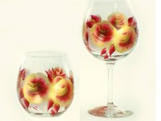 Hand-Painted Wine Glass Set  Rich Red and by HandPaintedPetals