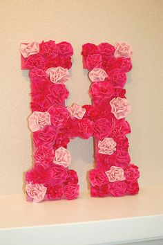 Pinkie for Pink: DIY Letter Wall Decor pink for my girl σε ένα στεφάνι with the white h bunny and one for my boy according to his taste