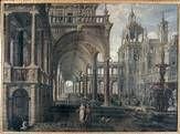 DeVries: Palastarchitektur mit Badernder (1596) - Kunsthistorische Muzeum, Wien