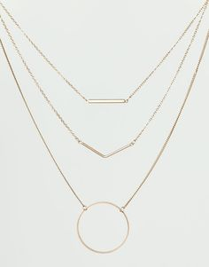 Pull&Bear - woman - jewellery - pack of 3 geometric necklaces - gold - 09996344-I2014