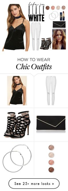 """Girly"" by beautyoctober on Polyvore featuring LULUS, River Island, Terre Mère, Melissa Odabash, L.K.Bennett, party and blackandwhite"