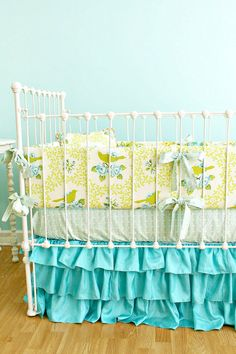 Another Ruffle Skirt! Turquoise Birdie Ruffles Custom Crib Bedding Set
