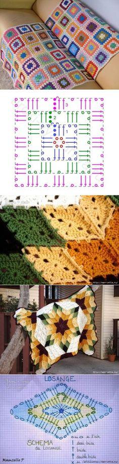 24 New Ideas For Crochet Granny Square Diagram Plaid Crochet Quilt, Crochet Blocks, Crochet Squares, Knit Or Crochet, Crochet Motif, Crochet Doilies, Crochet Flowers, Granny Squares, Crochet Square Patterns
