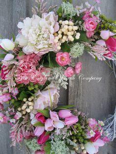 Spring Wreath Easter Garden Wreath Elegant by NewEnglandWreath